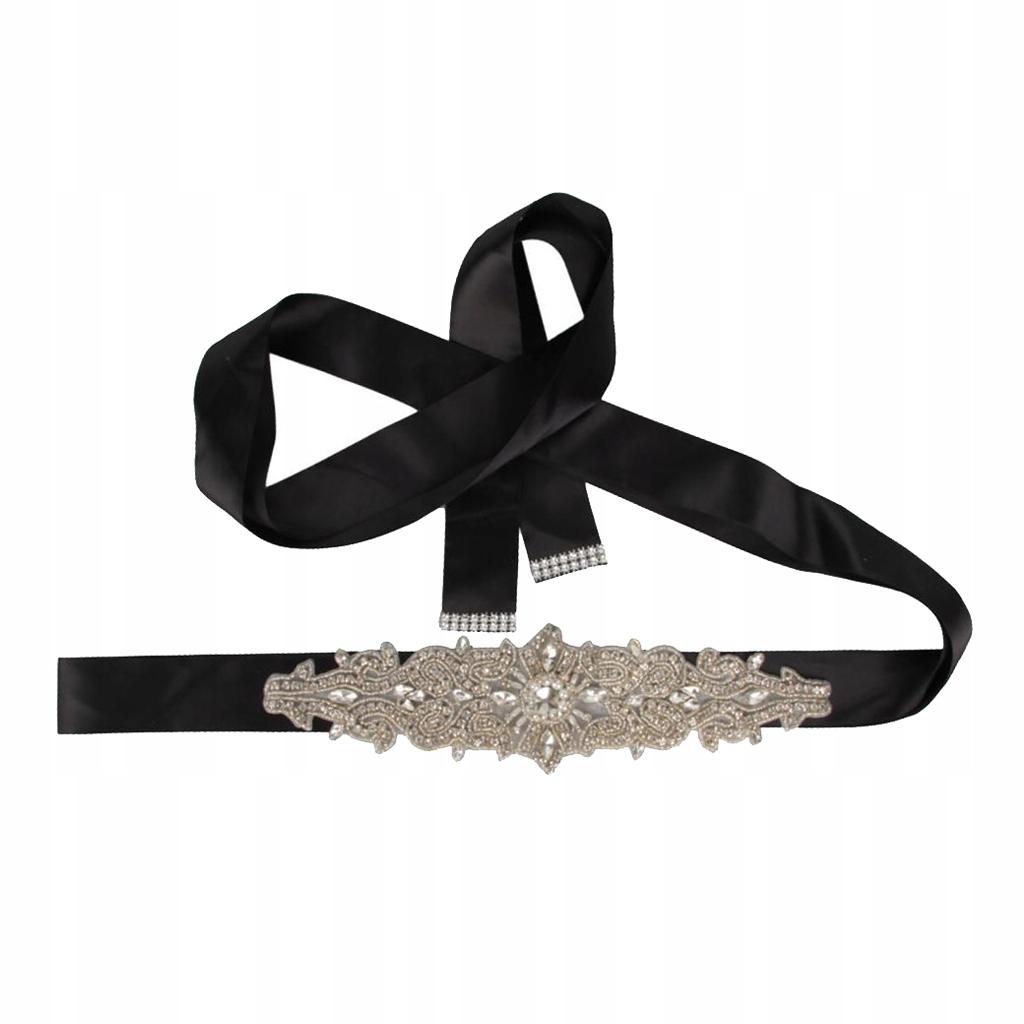 Pas kryształowej sukni ślubnej - czarny