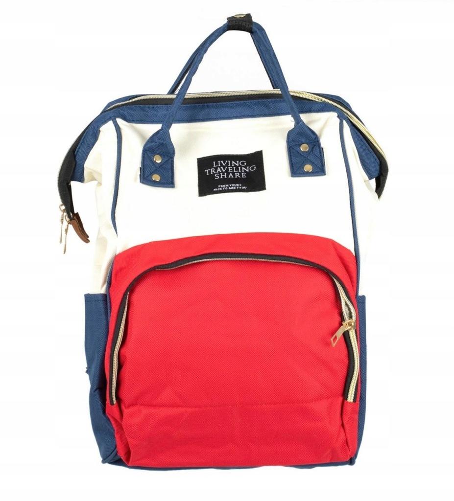 Plecak torba mamy do wózka organizer 3w1 beż/czerw