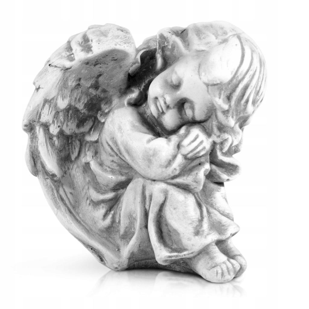 Figurka ANIOŁ szary Aniołek na grób cmentarz 17cm - 7671689968 ...