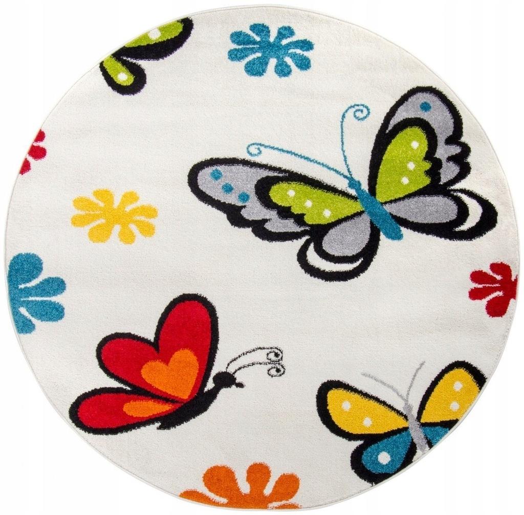 Dywan pokój dziecięcy motylki koło 120x120_CARPET