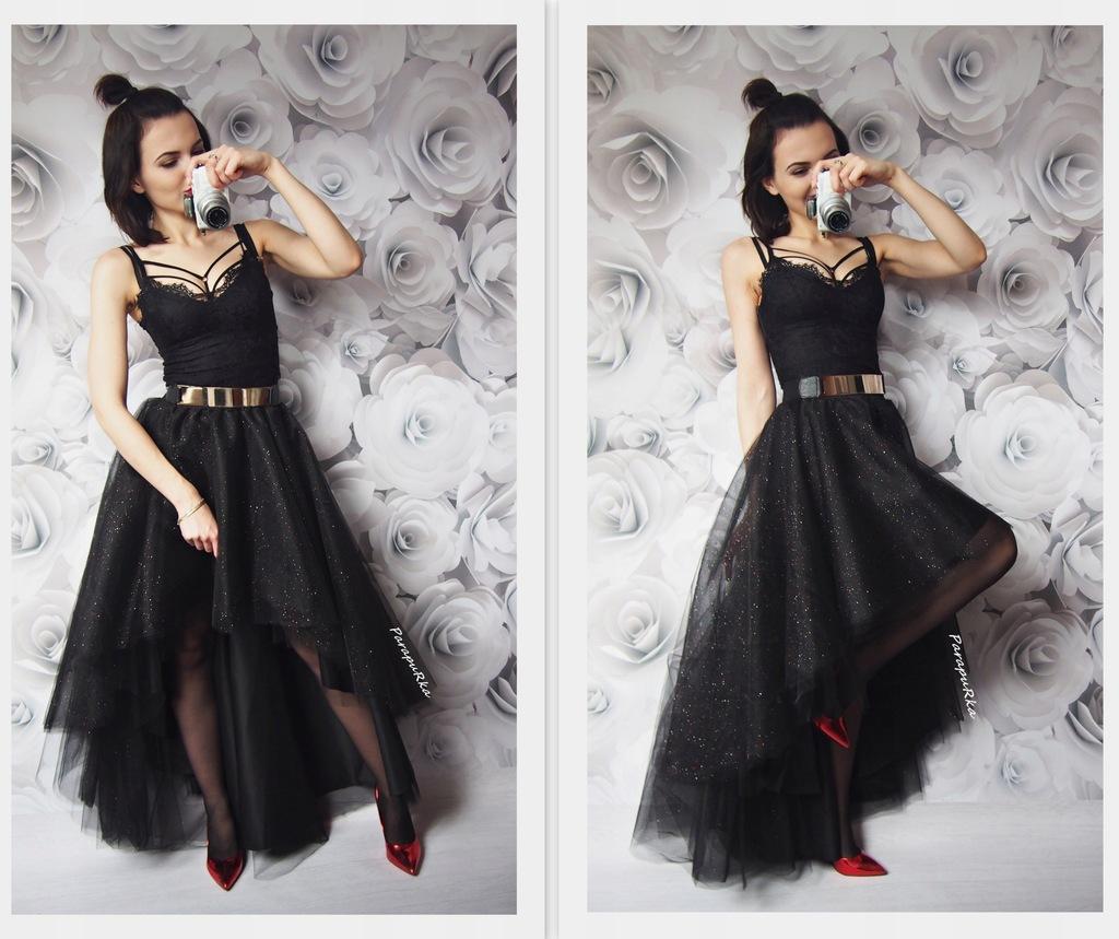 Asymetryczna spódnica tiulowa maxi z brokatem ślub