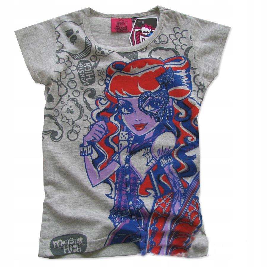 128 Bluzka T-shirt MONSTER HIGH szara A004