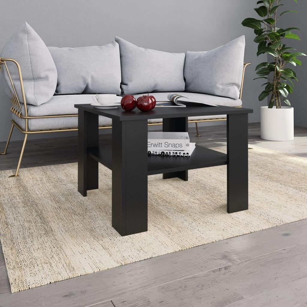 Stolik kawowy, czarny, 60x60x42 cm, płyta wiórowa