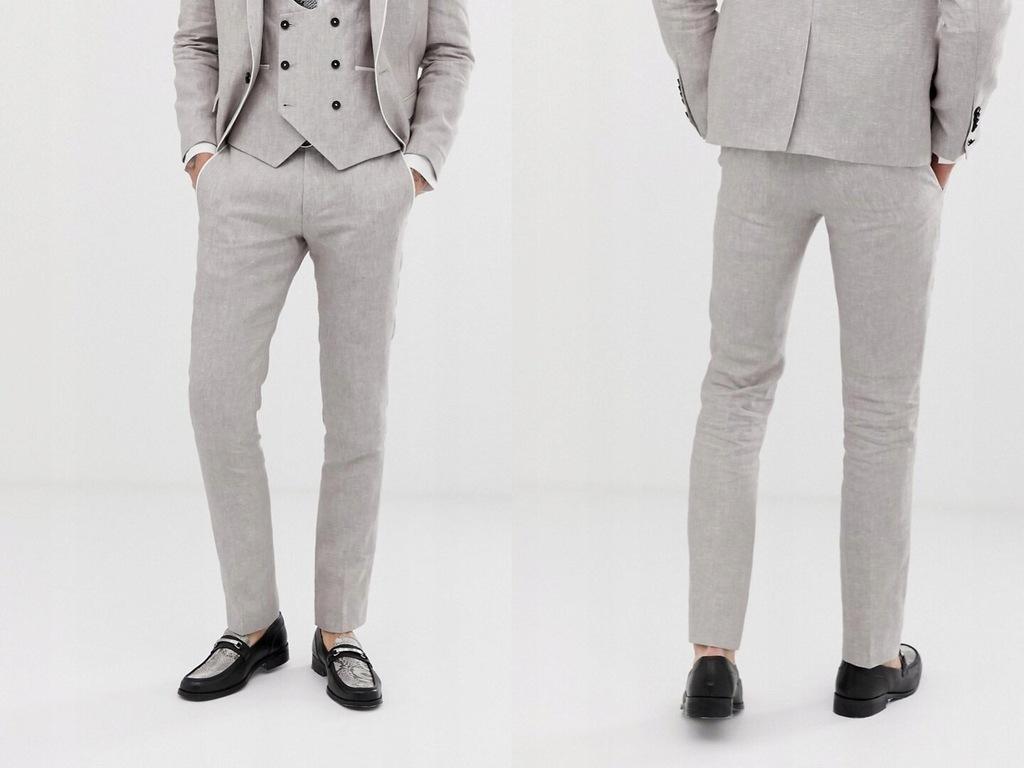Twisted Tailor Szare eleganckie spodnie W32L32