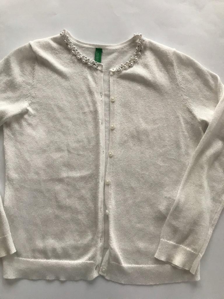 Benetton, cudny sweterek z perełkami , 130