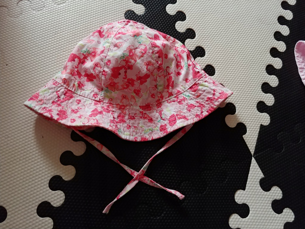 H&M różowy kwiaty cudny kapelusz 48cm idealny