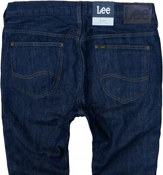LEE KNOX jeansy regular straight granatowe W33 L34