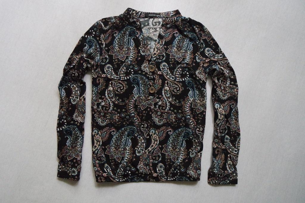 RESERVED bluzka koszula czarna bombka wzór____36/S