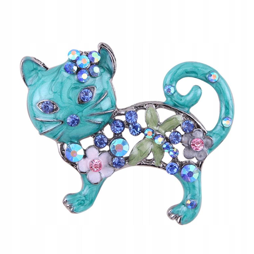 1 PC wykwintny kot spinka do piersi kot kreskówkow