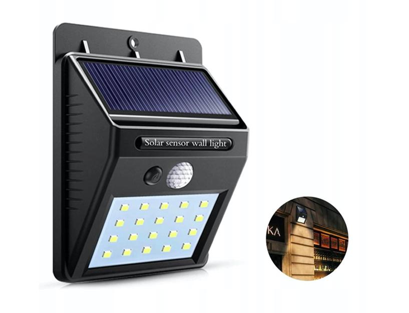 HALOGEN SOLARNY ŚCIENNY 20 LED SENSOR