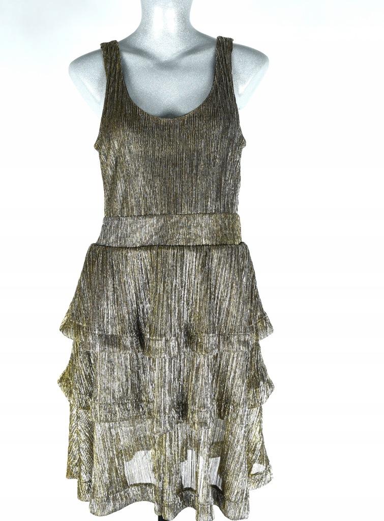 Sukienka złota H&M falbany rozm.36
