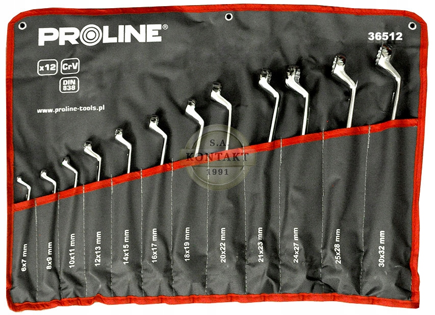 Klucze oczkowe odgięte 12 sztuk PROLINE