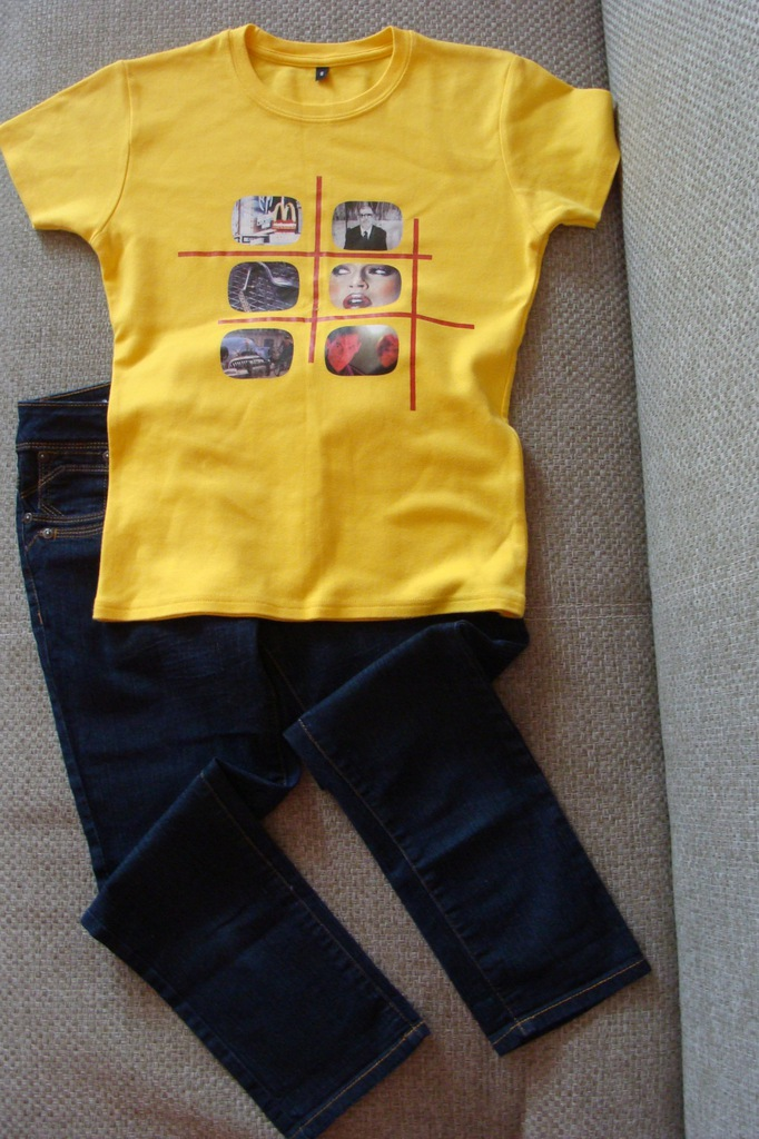 NEW LOOK Jeansy granatowe+T-shirt rozm.158