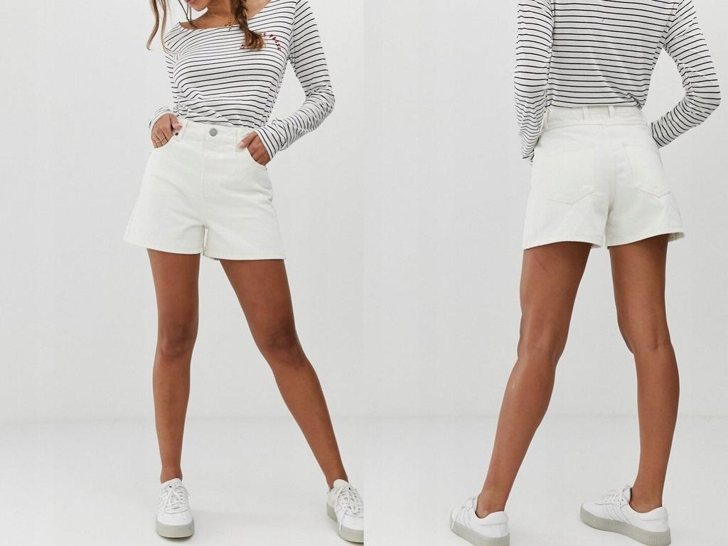 DESIGN Białe Jeansowe Spodenki Szorty S/36