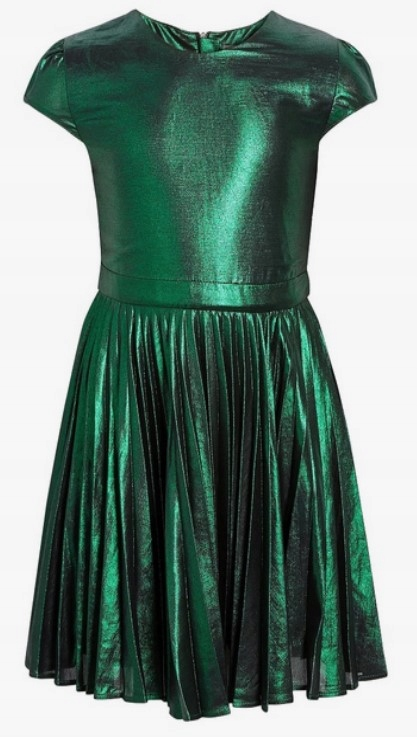 Next zielona brokatowa sukienka wizytowa 134 cm
