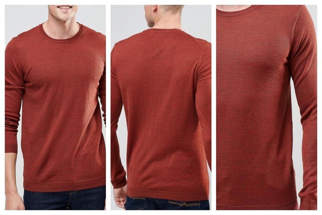 mm11 sweter wełniany merynos czerwony XS