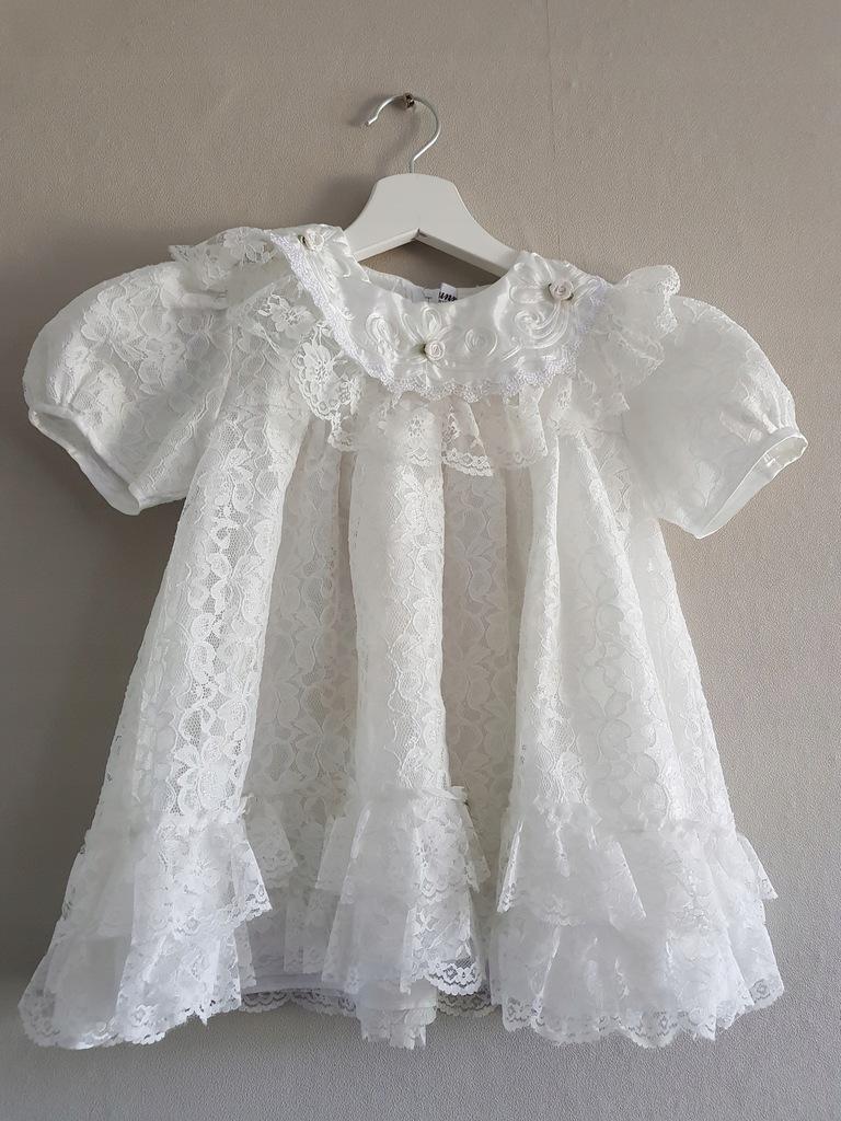 SUNNY COLLECTION Suknia chrzest 62cm jedwab RAYON