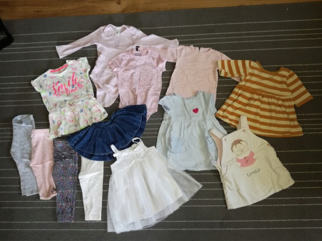 zestaw ubrań dla dziewczynki 74-80 ponad 30 szt.