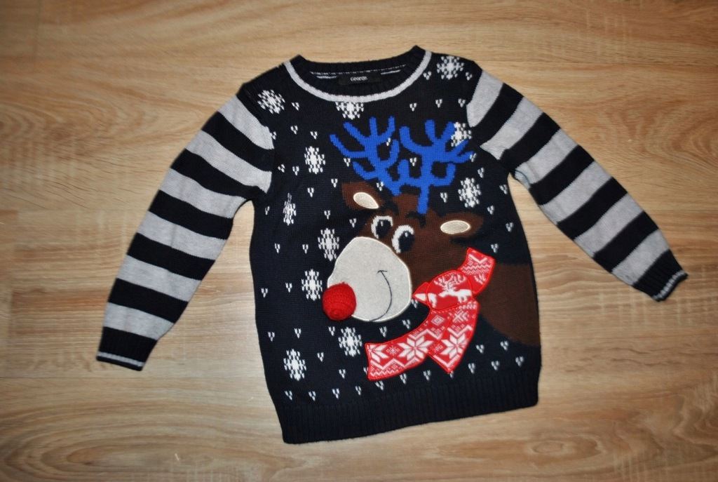 GEORGE świąteczny sweterek RENIFEREK 98-104 BDB