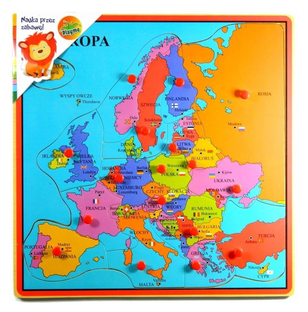 Mapa Europy -drewniana układanka puzzle dla dzieci - 7413818692 ...