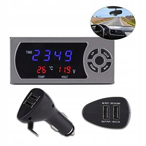 3-w-1 12-24 V LED cyfrowy zegar samochodowy termom