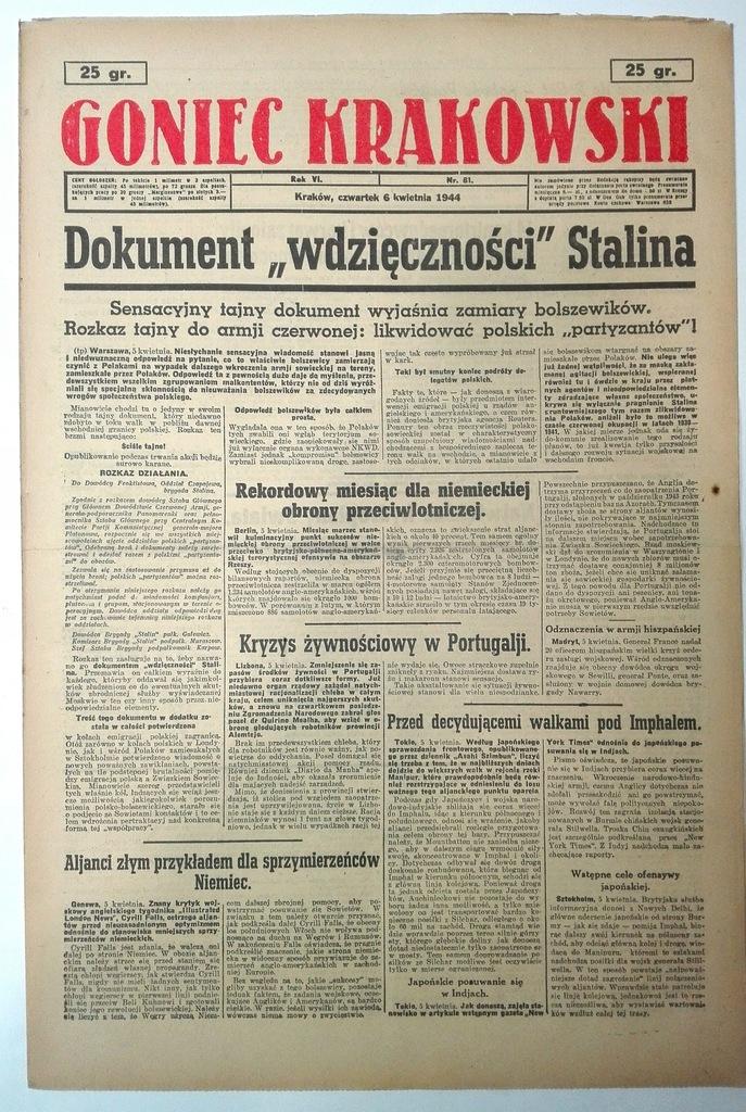 Goniec Krakowski 6 IV 1944 ZSRR vs AK Imphal SPK