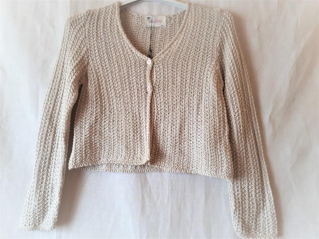 ZARA KNIT krótki beżowy sweter narzutka 152 cm