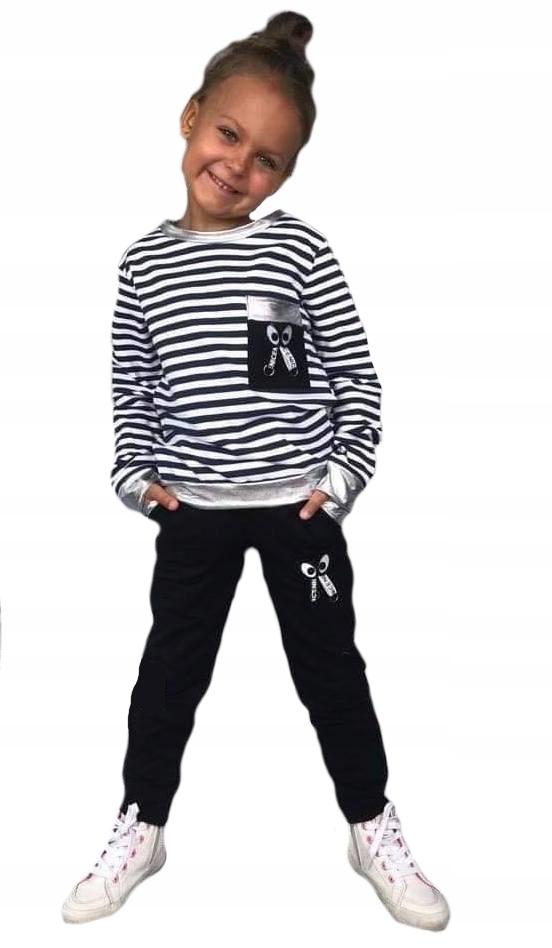 Dres komplet bluza paski spodnie czarne 122-128 8