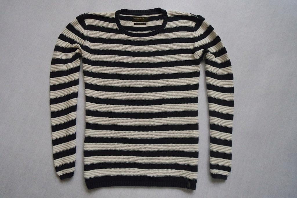 JACK JONES sweter sweterek paski biały granatowy_M