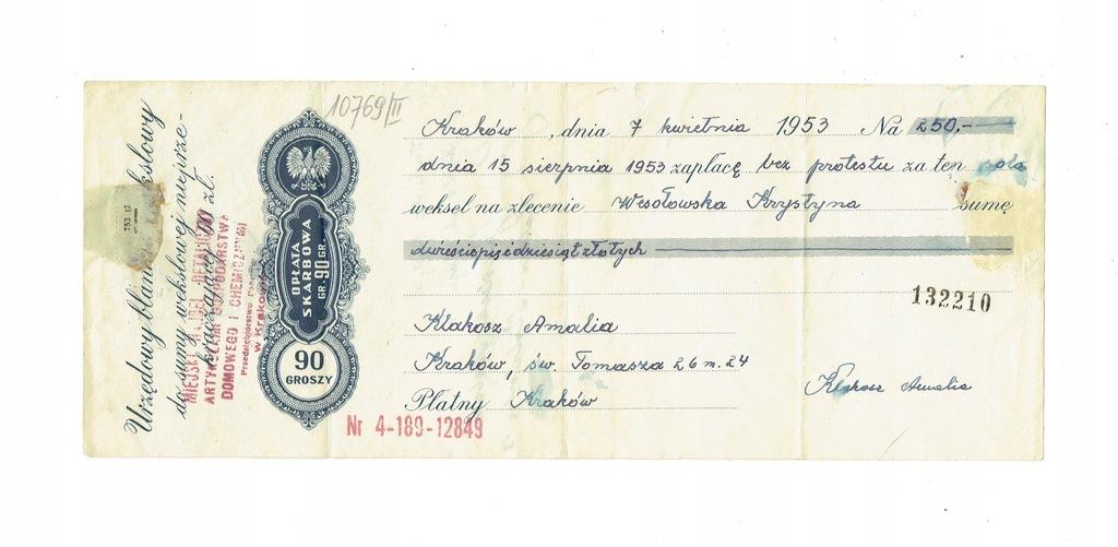 Weksel 19 Urząd Skarbowy Kraków 1953