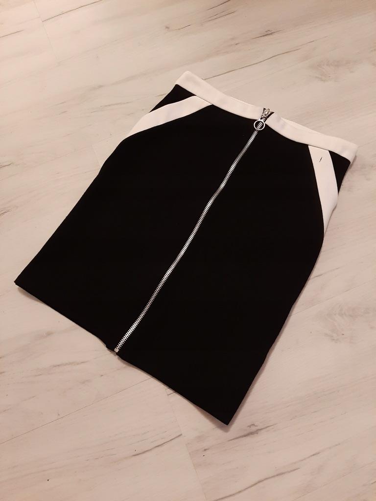 Czarno biała spódniczka z zamkiem z przodu 34 XS