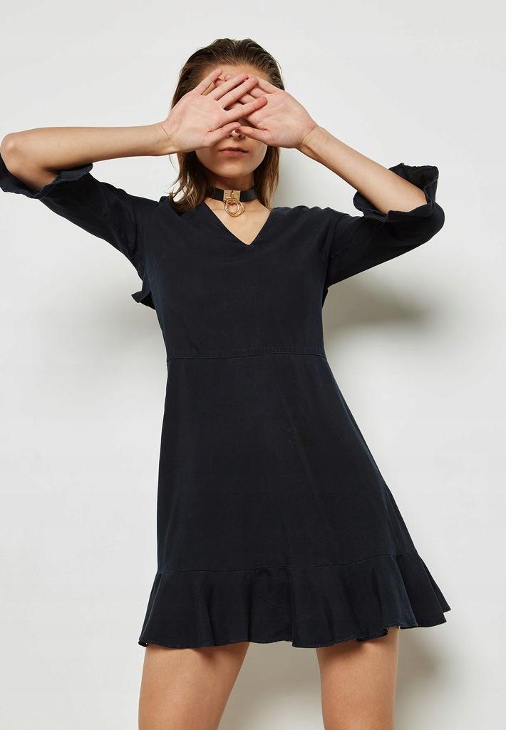 Dorothy Perkins czarna sukinka mini z falbanami 38