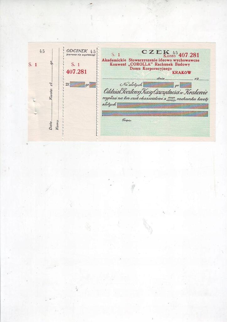 Pocztowa Kasa Oszczednosci, czek przedwojenny
