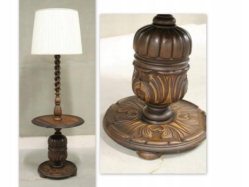 0204 rzeźbiona lampa podłogowa ze stolikiem