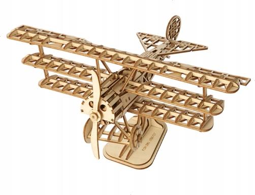 Drewniane puzzle 3D samolot bi-plane