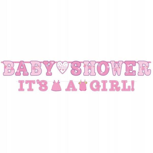 Baner z napisem Baby Shower Dziewczynka 2 szt.
