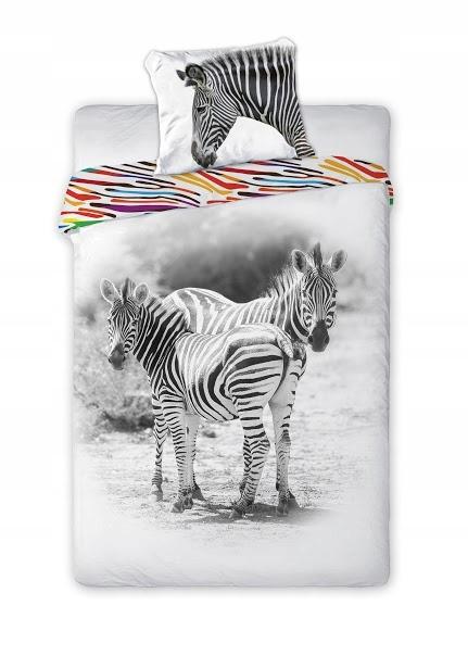 Pościel bawełniana 140x200 Wild Zebra zebry biała