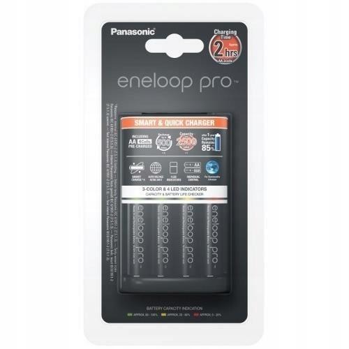 Panasonic Ładowarka BQ-CC55 + 4 x R6/AA Eneloop Pr