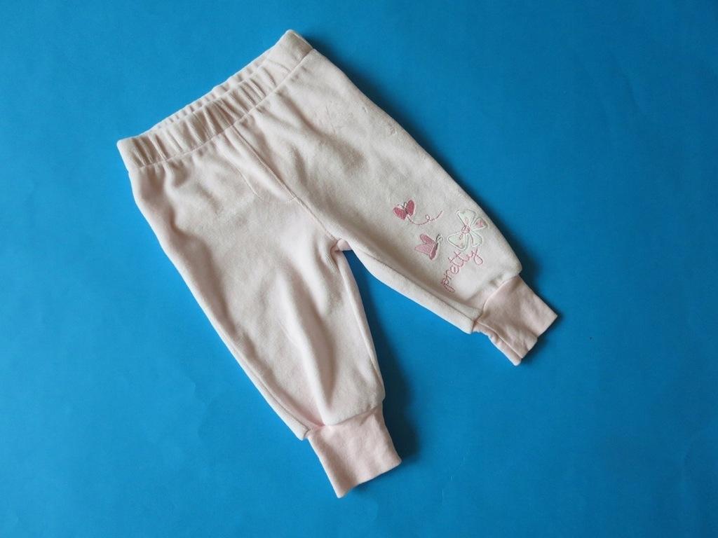 DISNEY - Śliczne welurowe różowe legginsy -3-6 m-c