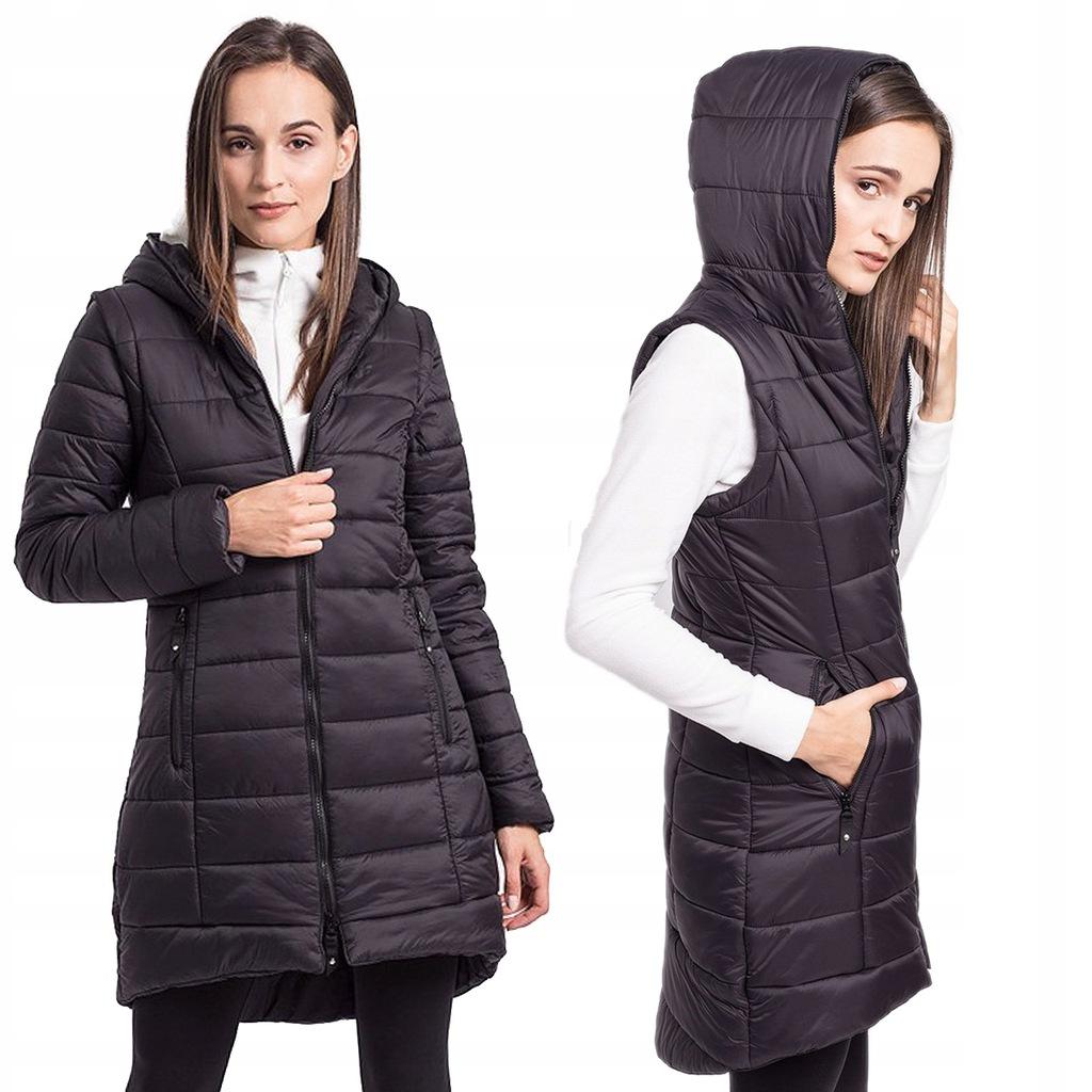 Kurtka puchowa 4F płaszcz damski długi KUD008 M