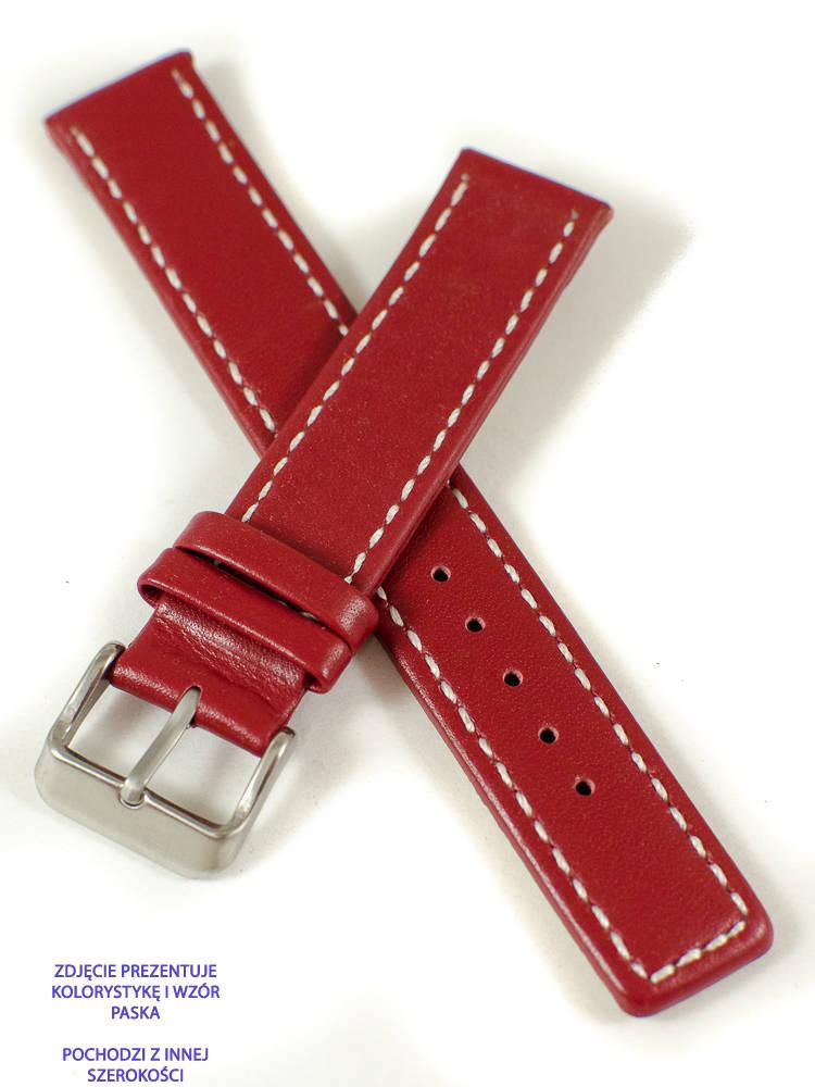 CZERWONY szyty pasek do zegarka - SKÓRA 22 mm