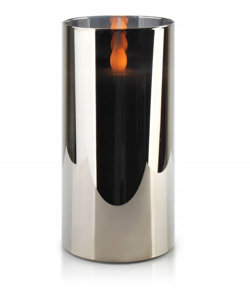 SALMA METALIC Świeca LED 7,5xh15cm w szkle