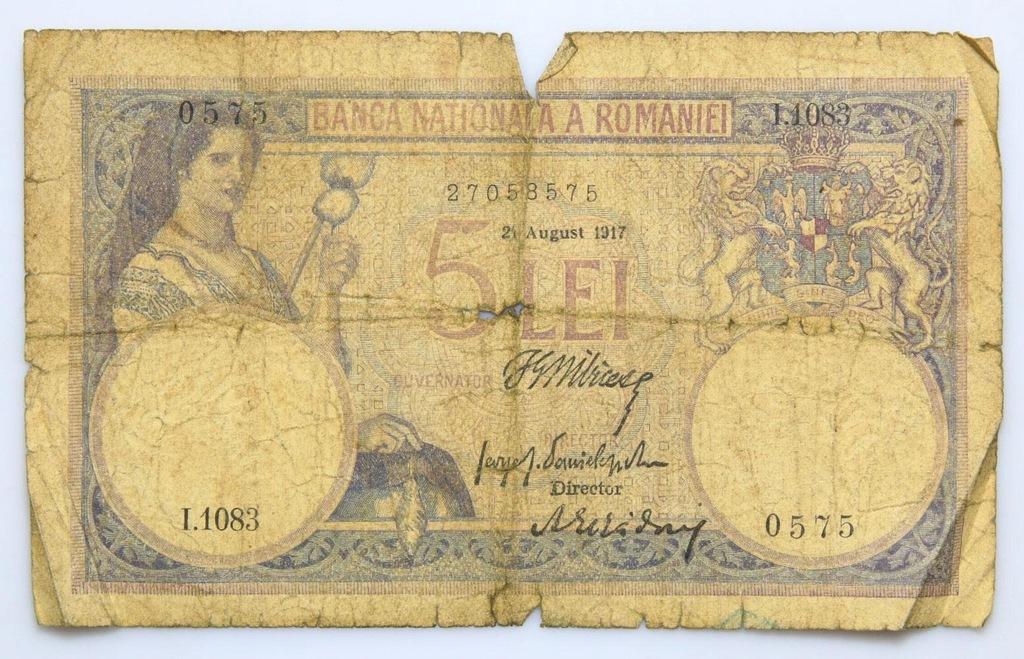 BANKNOT - Rumunia - 5 Lei 1917