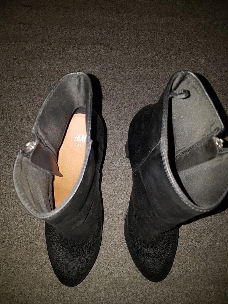 H&M czarne botki na słupku, rozmiar 41 8079431729