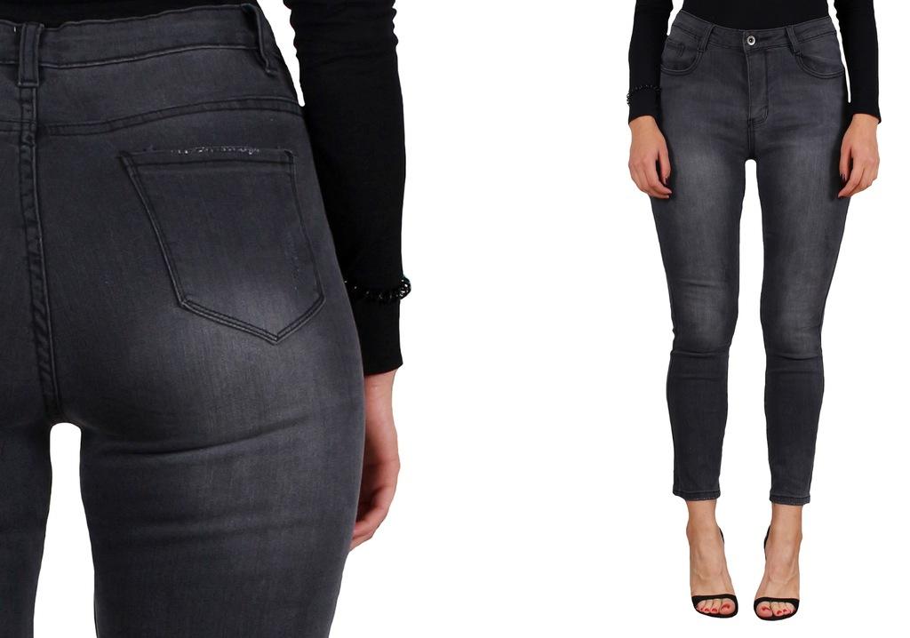 LAULIA DAMSKIE spodnie JEANSY szare 484XL