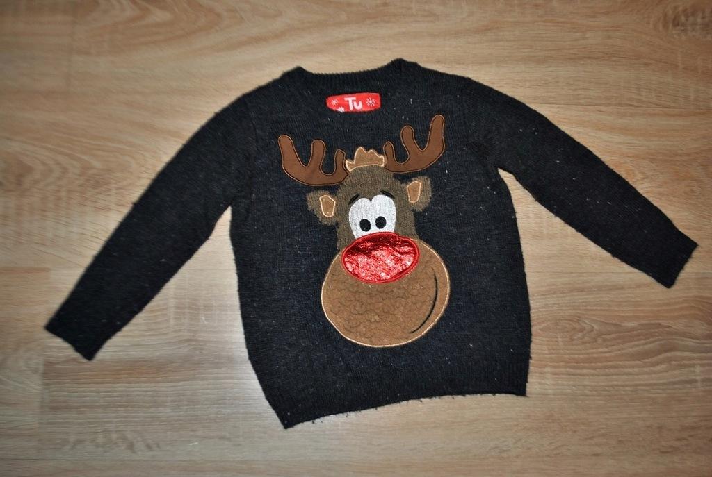 TU świąteczny sweterek RENIFEREK 86-92