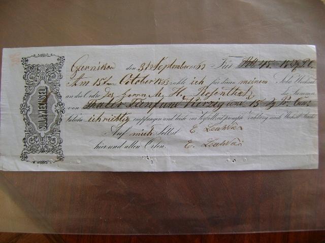 WEKSEL CZARNKÓW 1863 R TRZCIANKA BIAŁA