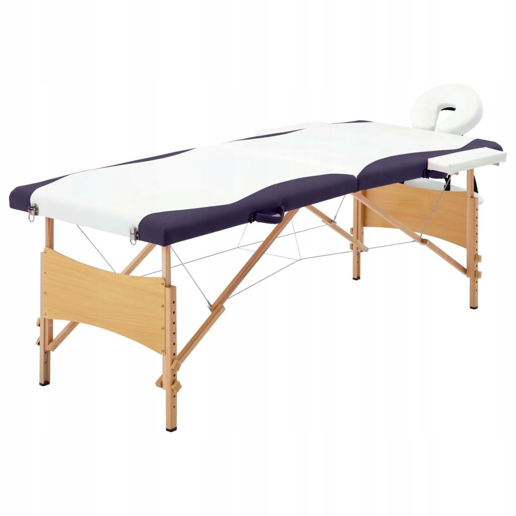 Składany stół do masażu, 2 strefy, drewniany, biał
