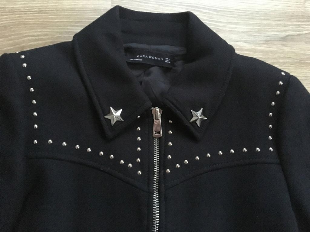 ZARA czarny płaszcz z ćwiekami L