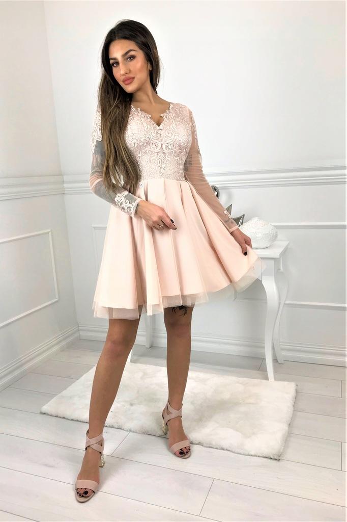 Sukienka koronka tiul tiulowa na wesele komunia XL